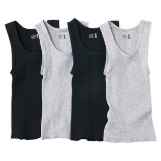 Fruit Of The Loom Boys 4 pack A Shirt Tanks   Black/Gray L