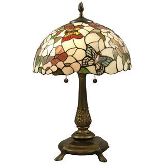 Dale Tiffany Stained Glass Butterfly Table Lamp, Multi D