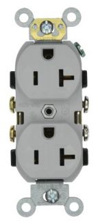 Leviton CR20GY Electrical Outlet, Duplex Receptacle, 20A Commercial Grade with Self Grounding Clip Gray