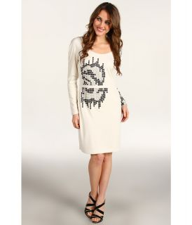 Halston Heritage Long Sleeve Round Neck Embellished Dress Womens Dress (Beige)