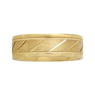 Mens 7mm 10K Gold Slash Wedding Band, Yellow/Gold