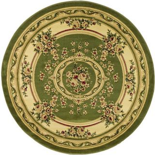 Lyndhurst Collection Sage/ Ivory Oriental Pattern Rug (53 Round)
