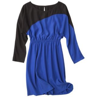 Mossimo Womens Long Sleeve Colorblock Dress   Athens Blue/Ebony XS