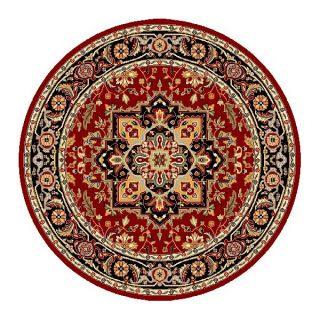 Lyndhurst Collection Red/black Area Rug (5 3 Round)