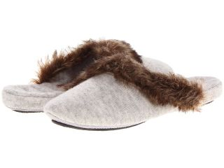 Acorn Cashmere Fur Trim Mule Womens Slippers (Gray)