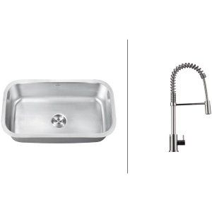 Ruvati RVC2491 Combo Stainless Steel Kitchen Sink and Chrome Faucet Set