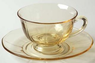 Fostoria Fairfax Topaz Footed Cup & Saucer Set   2375, Yellow