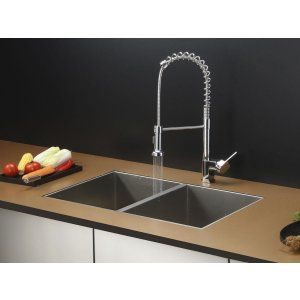 Ruvati RVC1331 Combo Stainless Steel Kitchen Sink and Chrome Faucet Set