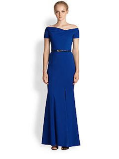 Black Halo Asymmetrical Neck Belted Stretch Jersey Gown   Cobalt