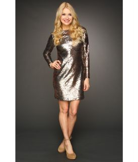 Jessica Simpson Long Sleeve Sequin V Back Dress Womens Dress (Gray)