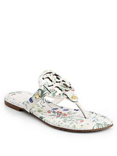 Tory Burch Miller Floral Print Leather Thong Sandals   Botanical