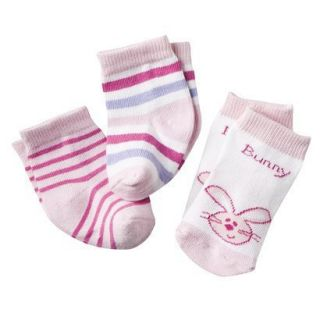 Luvable Friends Newborn Girls 3 Pair Stripe, Animal Face Socks   Pink 0 6M