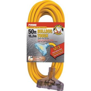 Prime Wire & Cable Bulldog Tough Outdoor Extension Cord with Triple Tap   50ft.,