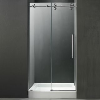 Vigo Industries VG6041STCL60WS Shower Door, 60 Frameless 3/8 w/White Base Center Drain Clear/Stainless Steel