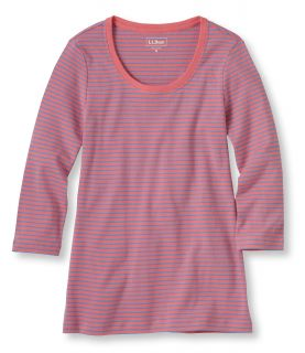 Double L Rib Knit Tee, Three Quarter Sleeve Scoopneck, Stripe