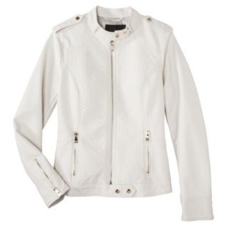 Mossimo Womens Faux Leather Jacket  White S