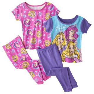 Disney Princess Toddler Girls 4 Piece Short Sleeve Pajama Set   Pink 4T