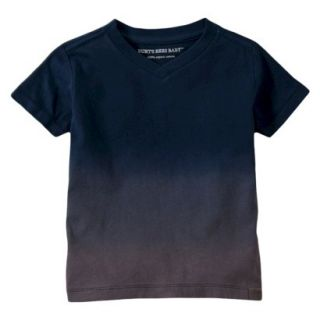 Burts Bees Baby Toddler Boys Dip Dye V Neck Tee   Grey/Navy 4T