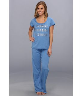 Kenneth Cole Reaction Matter Of Opinion Pant Tee Set Womens Pajama Sets (Blue)