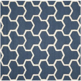 Safavieh Contemporary style Handmade Moroccan Cambridge Navy/ Ivory Wool Rug (6 Square)