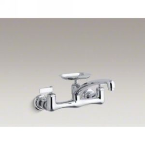 Kohler K 7855 4 CP Clearwater Two Handle Wall Mounted Kitchen Faucet with Soap D