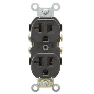 Leviton CR20 Electrical Outlet, Duplex Receptacle, 20A Commercial Grade with Self Grounding Clip Brown