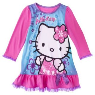 Hello Kitty Toddler Girls Long Sleeve Nightgown   Pink 2T