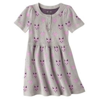 Infant Toddler Girls Short Sleeve Knit Fox Dress   Grey 3T