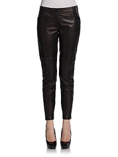 Paneled Leather Pants   Black