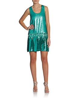 Sleeveless Sequin Dropped Waist Dress   Spruce
