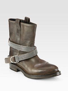Brunello Cucinelli Leather Beaded Strap Motorcycle Boots   Earth
