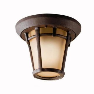 Kichler 9555AGZ Outdoor Light, Transitional Flush Mount 1 Light Fixture Aged Bronze