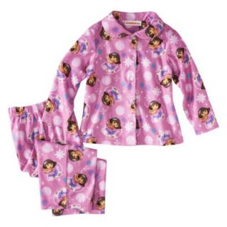 Dora the Explorer Toddler Girls 2 Piece Long Sleeve Button Down Coat and Pant