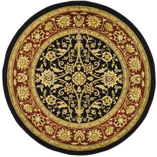 Lyndhurst Collection Majestic Black/ Red Rug (53 Round)