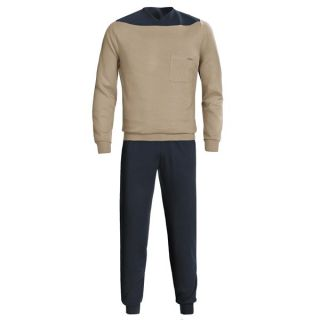 Calida Relax Cuffed Pajamas   Heavy Interlock Cotton  Long Sleeve (For Men)   DRAB (M )