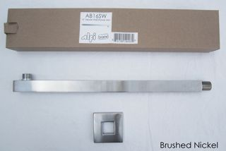 Alfi Brand AB16SWBN Shower Arm, 16 Square Wall Mounted For Square Rain Shower Heads Brushed Nickel