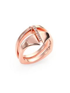 Bliss Lau Diamond & Rose Finished Sterling Silver Two Piece Ring   Rose Gold