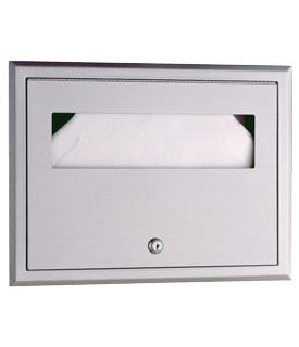Bobrick B301 Classic Series Recessed Seat Cover Dispenser, 500 Sheets Satin Finish Stainless Steel, 155/8 x 111/4