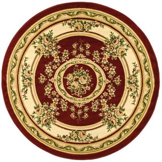 Lyndhurst Collection Red/ Ivory Rug (8 Round)