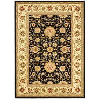 Lyndhurst Collection Majestic Black/ Ivory Rug (4 X 6)