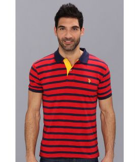 U.S. Polo Assn Stripe Slub Polo Mens Short Sleeve Knit (Navy)