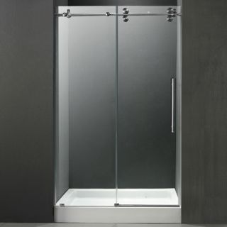 Vigo Industries VG6041STCL48WM Shower Door, 48 Frameless 3/8 w/White Base Center Drain Clear/Stainless Steel