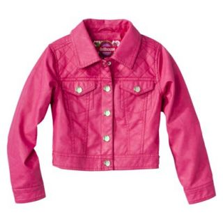 Dollhouse Girls Faux Leather Quilted Jacket   Pink 6X