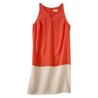 Merona Womens Colorblock Hem Shift Dress   Hot Orange/Hamptons Beige   XL