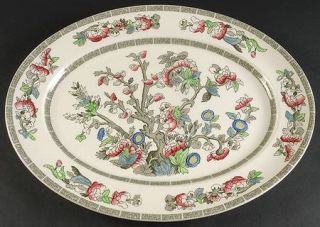 Johnson Brothers Indian Tree (Green Key, Cream) 17 Oval Serving Platter, Fine C