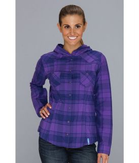 Mountain Hardwear Stretchstone Flannel Hooded Shirt Womens Long Sleeve Button Up (Purple)