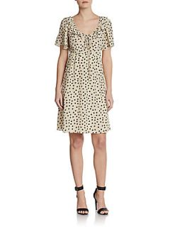 Silk Georgette Polka Dot Dress   Khaki Dots