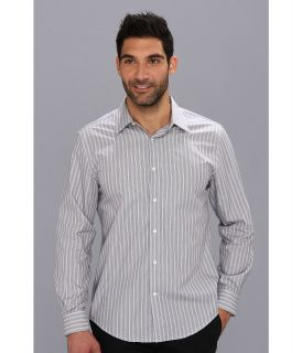 Perry Ellis L/S Bold Stripe Point Collar Dress Shirt Mens Long Sleeve Button Up (Black)