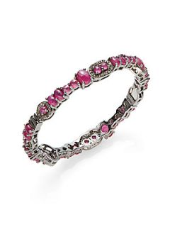 2.29 TCW Pave Diamond, Ruby & Sterling Silver Bangle Bracelet   Ruby