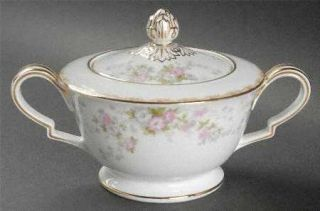 Noritake Petite Fleur Sugar Bowl & Lid, Fine China Dinnerware   Pink & Gray Flow